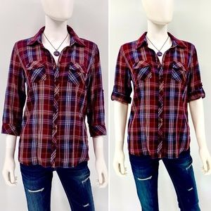 SONOMA-Size S-100% Cotton Plaid Button-down